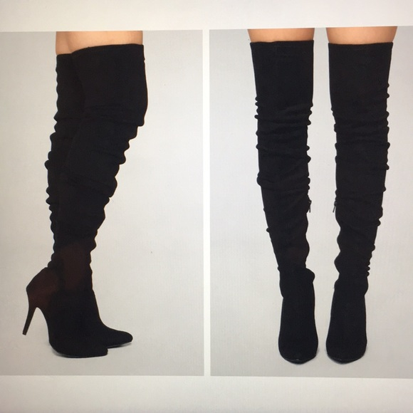 Thigh High Black Suede High Heel Boots
